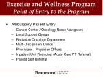 exercise and wellness program point of entry to the program