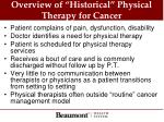 overview of historical physical therapy for cancer
