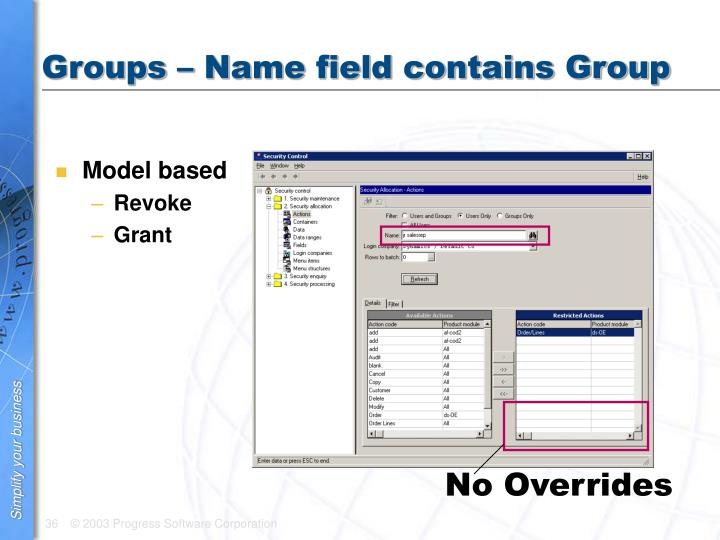 Groups – Name field contains Group