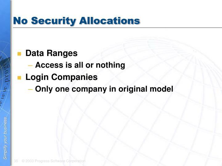 No Security Allocations