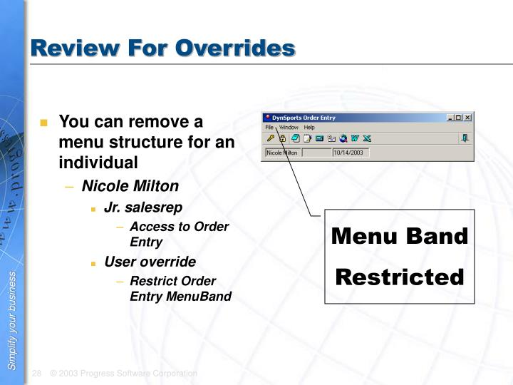 Review For Overrides