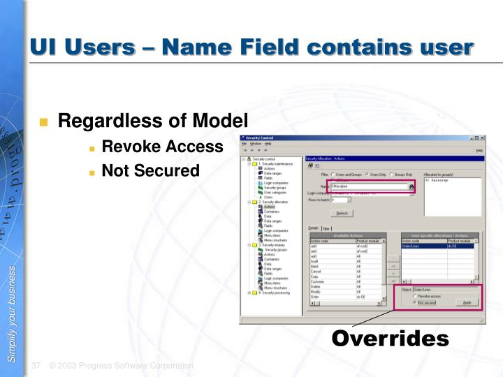 UI Users – Name Field contains user