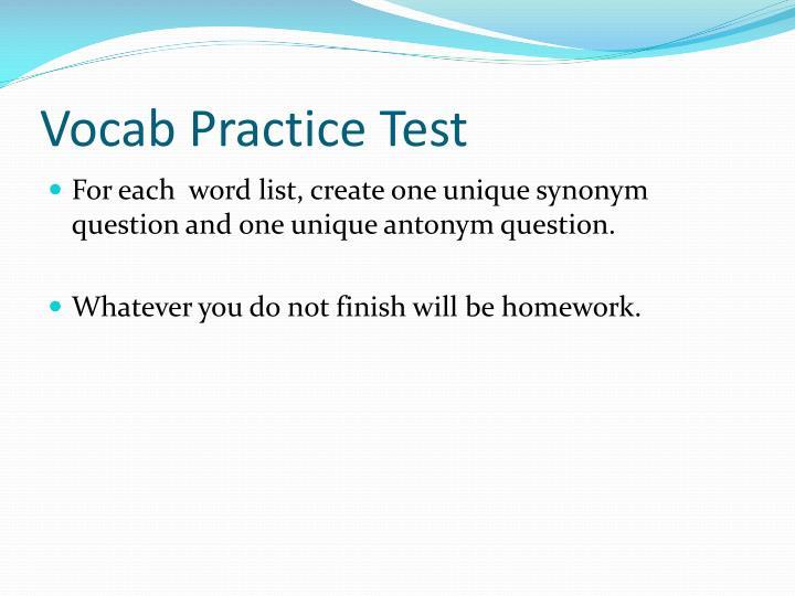 Vocab Practice Test