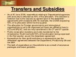 transfers and subsidies