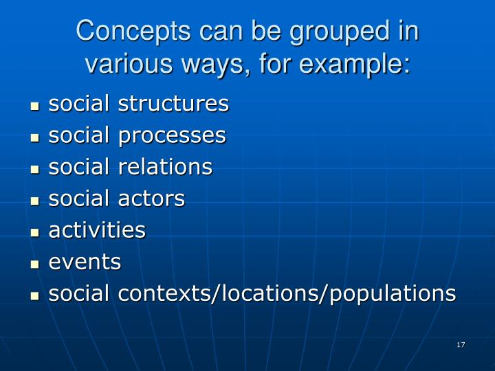 Concepts can be grouped in various ways, for example: