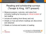 reading and scholarship s urveys tenopir king 1977 present