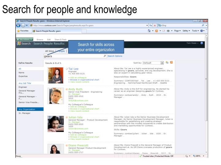 Search for people and knowledge