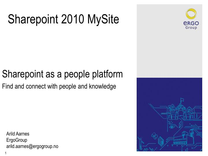 Sharepoint as a people platform