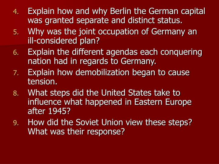 Explain how and why Berlin the German capital was granted separate and distinct status.