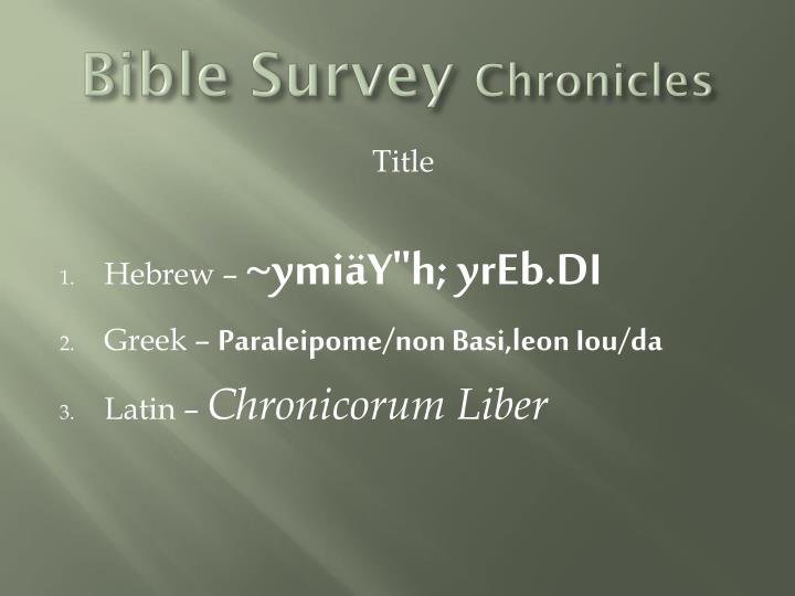 Bible survey chronicles
