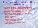 experience in behavioral health in minnesota