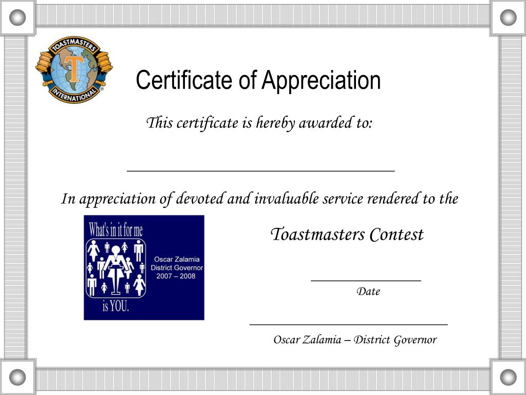 Ppt Certificate Of Appreciation Powerpoint Presentation Id5392475