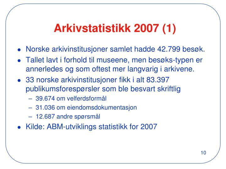 Arkivstatistikk 2007 (1)
