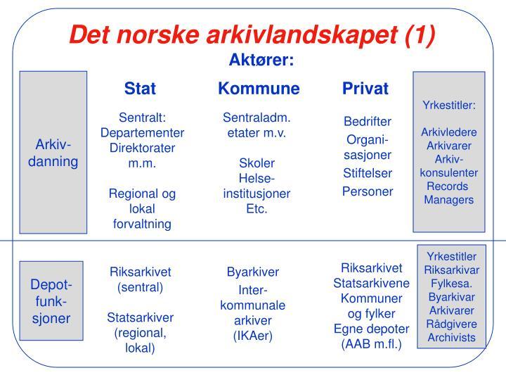 Det norske arkivlandskapet 1