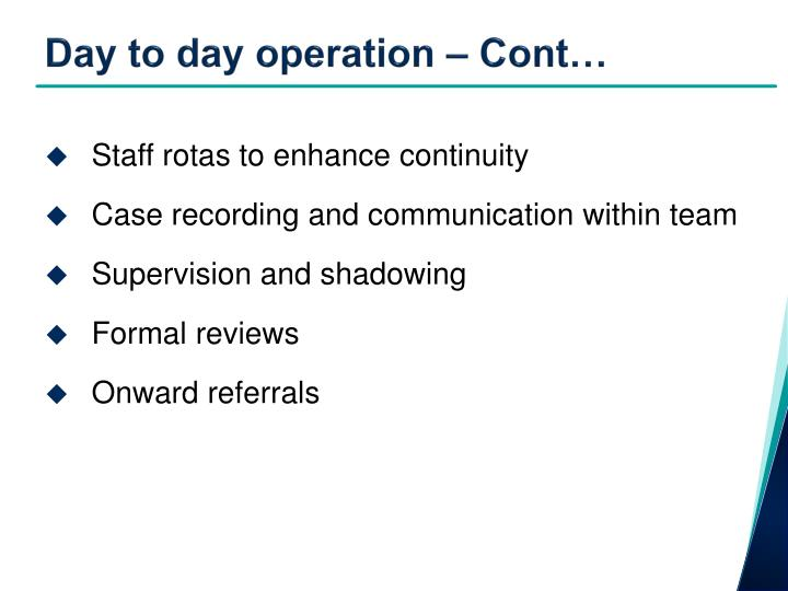Day to day operation – Cont…