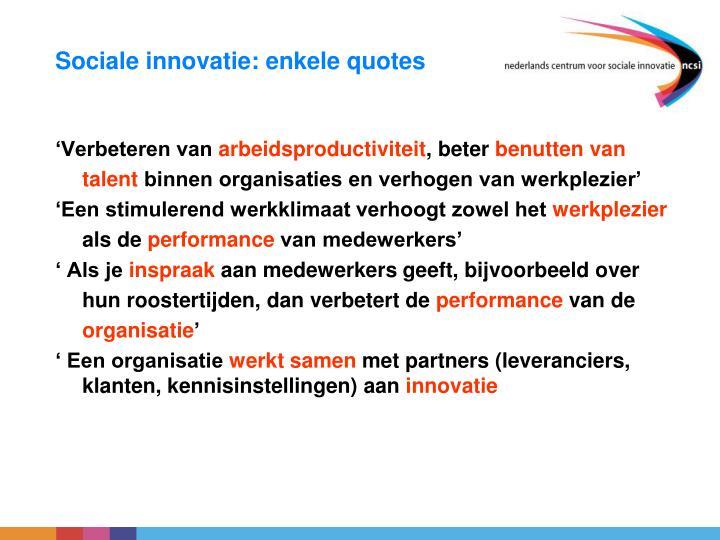 Sociale innovatie enkele quotes