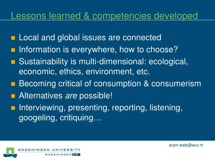 Lessons learned & competencies developed