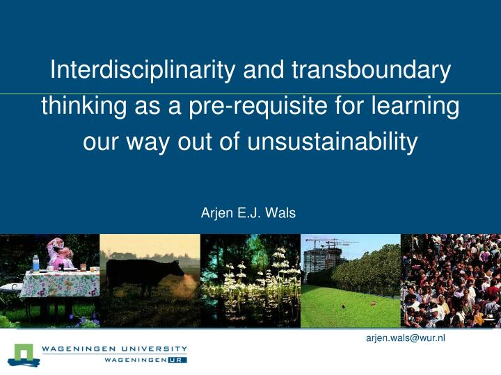 Interdisciplinarity and transboundary thinking as a pre-requisite for learning our way out of unsust...