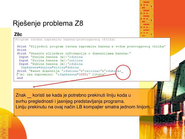 Rje enje problema z81