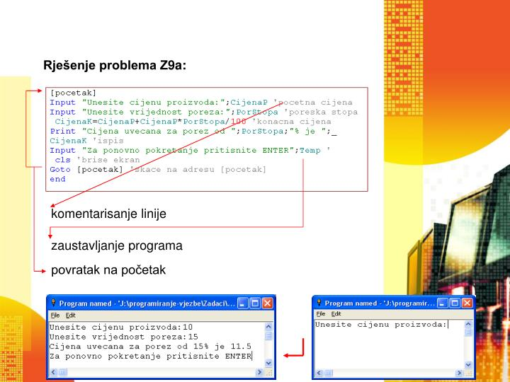 Rješenje problema Z9a: