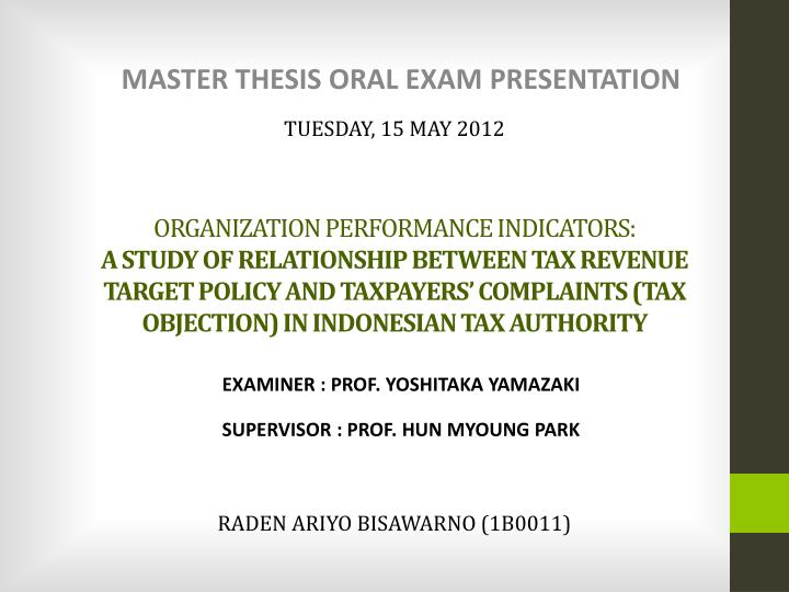 Master thesis oral defence