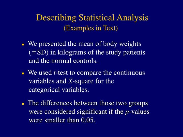 Describing Statistical Analysis