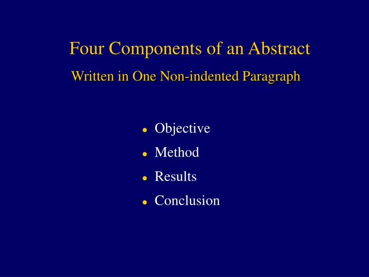 Four Components of an Abstract