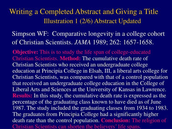 Simpson WF:  Comparative longevity in a college cohort