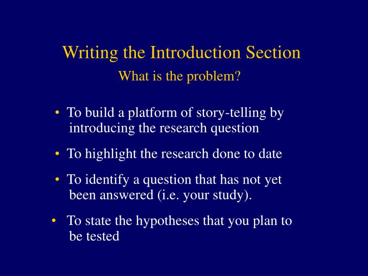 Writing the Introduction Section