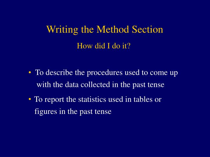 Writing the Method Section