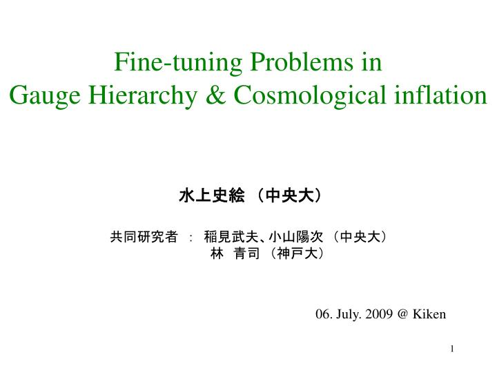 Fine-tuning Problems in