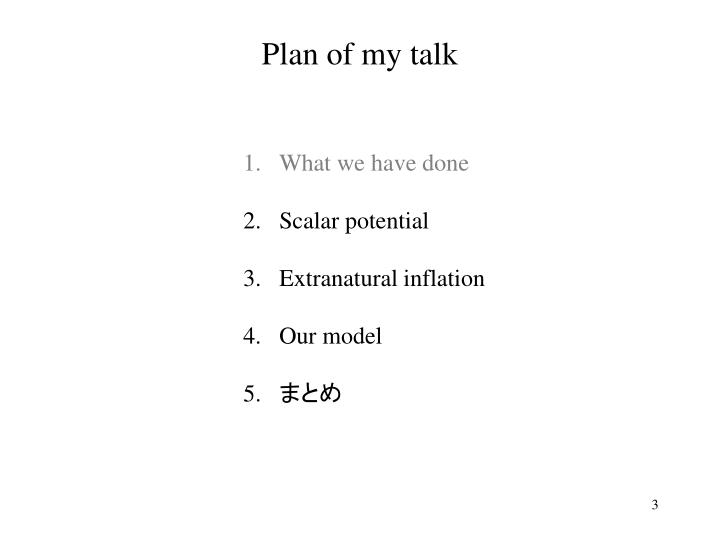 Plan of my talk