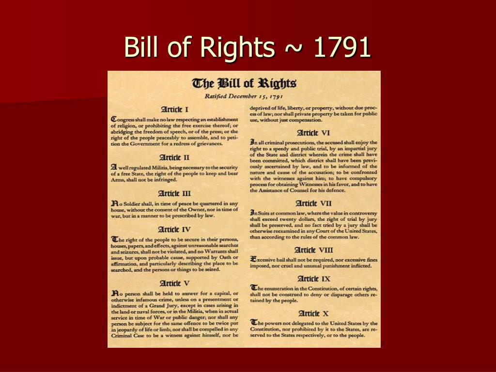 ppt bill of rights 1791 powerpoint presentation id 5393318