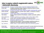 izbor iz popisa vo enih magistarskih radova i doktorskih disertacija