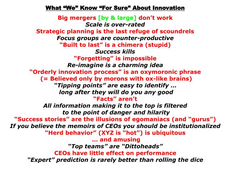 """What """"We"""" Know """"For Sure"""" About Innovation"""