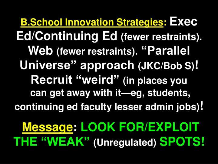 B.School Innovation Strategies