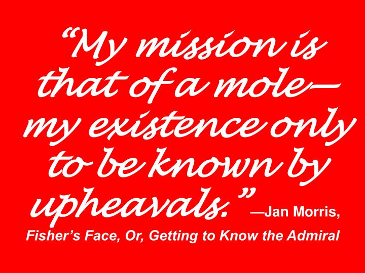 """""""My mission is that of a mole—my existence only to be known by upheavals."""""""