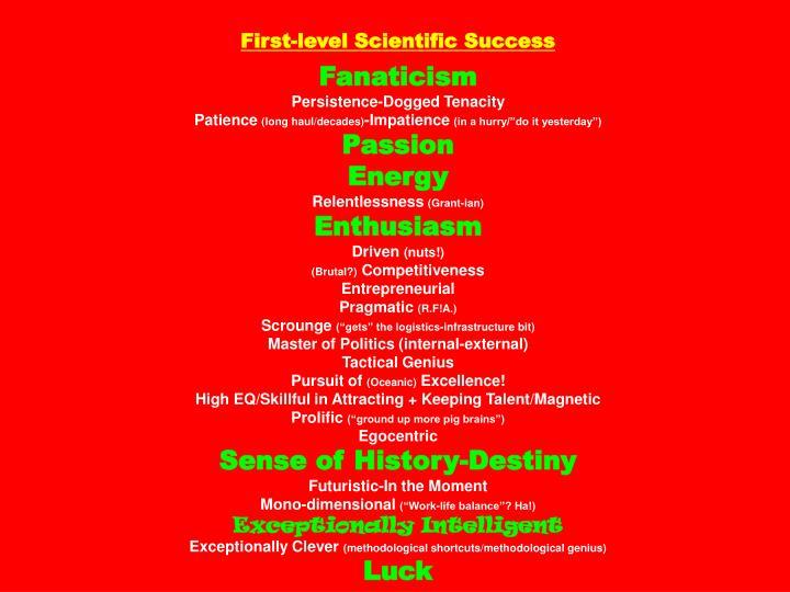 First-level Scientific Success