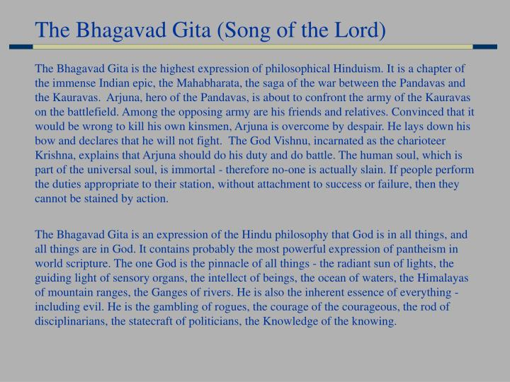 The Bhagavad Gita (Song of the Lord)
