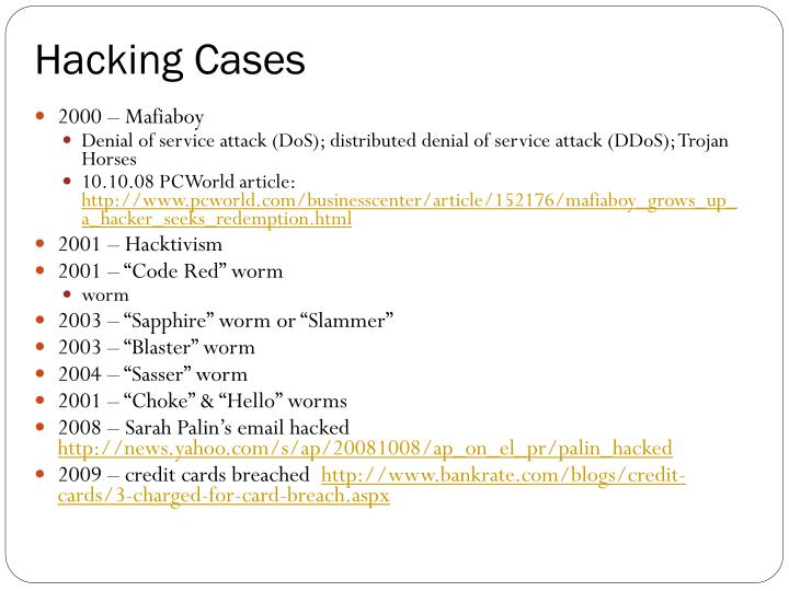 Hacking Cases
