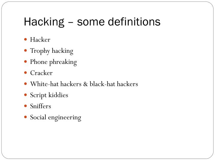 Hacking some definitions