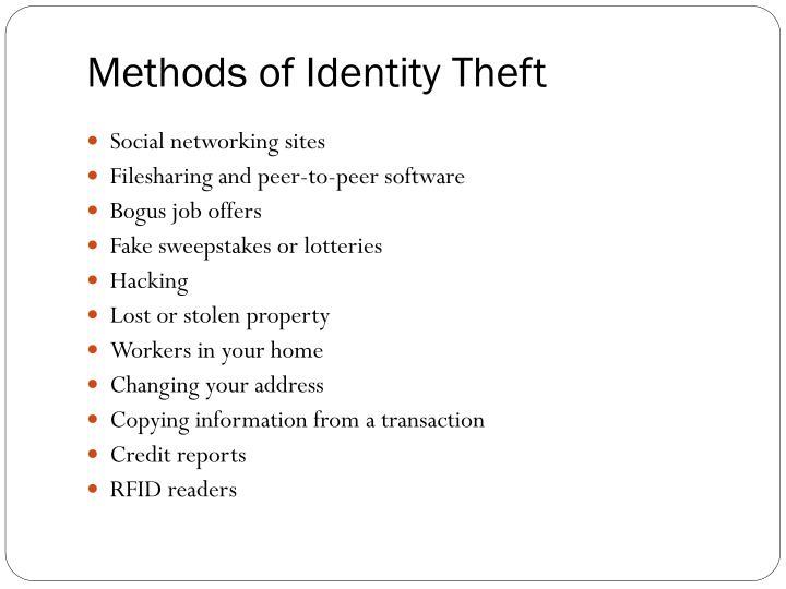 Methods of Identity Theft