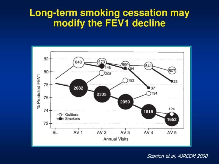 Long-term smoking cessation may modify the FEV1 decline