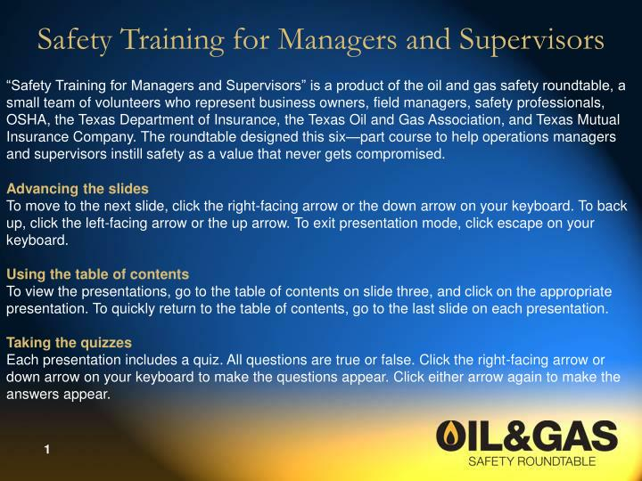 PPT - Safety Training for Managers and Supervisors PowerPoint