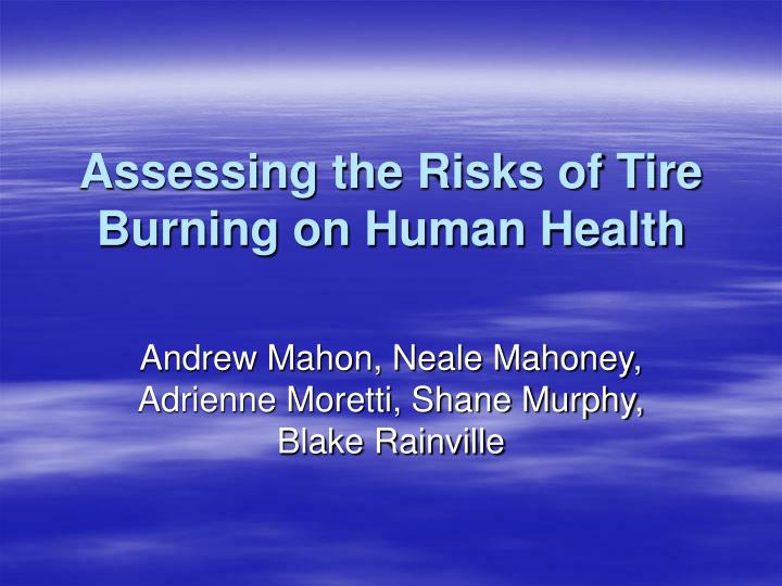 assessing the risks of tire burning on human health n.