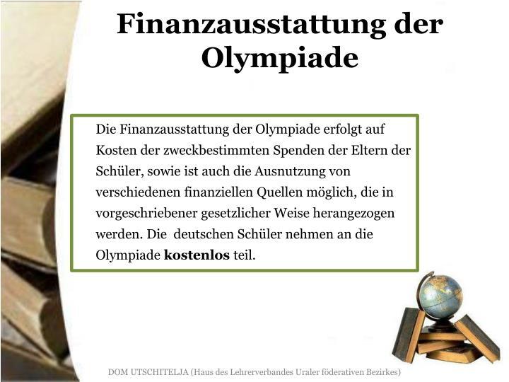 Finanzausstattung der Olympiade
