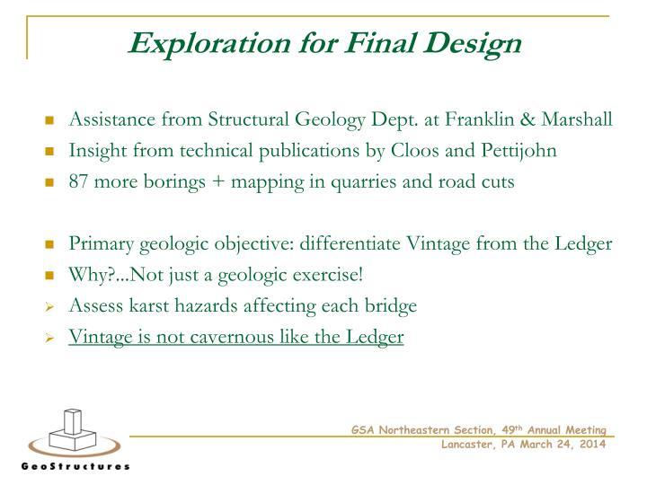 Exploration for Final Design