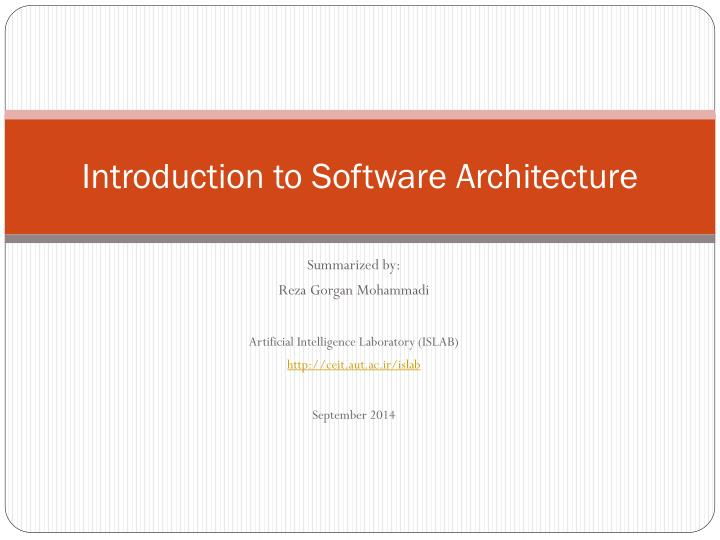 introduction to software architecture n.