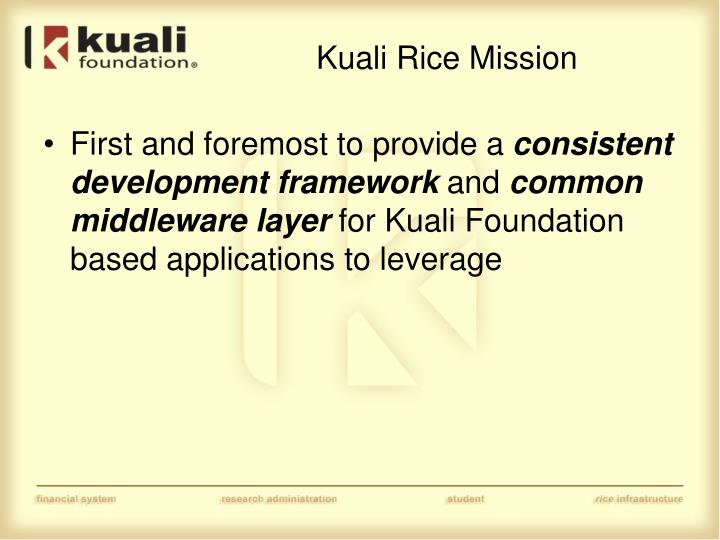 Kuali rice mission