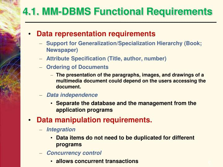 4.1. MM-DBMS Functional Requirements
